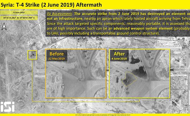 תוצאות התקיפה בבסיס T4 (צילום: ImageSat International (ISI), חדשות)