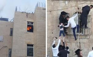 """תיעוד: חילוץ ילדים מדירה בוערת בירושלים (צילום: קבוצת מדברים תקשורת / דוברות מד""""א, חדשות)"""