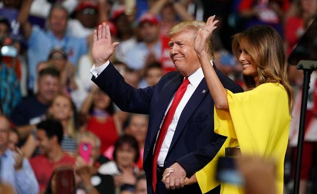 טראמפ ומלניה בהשקת הקמפיין (צילום: רויטרס, חדשות)