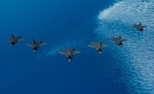 """התרגיל מעל הים התיכון (צילום: דובר צה""""ל, חדשות)"""