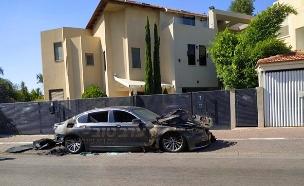 רכבו השרוף של אביה של נועה קירל (צילום: ערב טוב עם גיא פינס, חדשות)