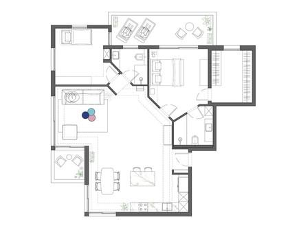 דירה בתל אביב, עיצוב מאיה שינברגר, תוכנית אדריכלית