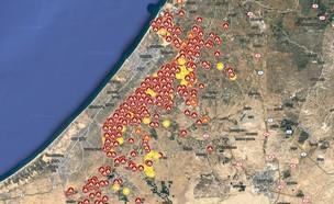 מפת ההצתות בעוטף עזה (צילום: צילום מסך)