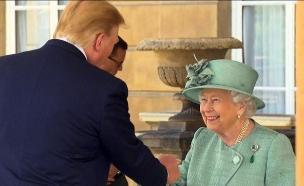טראמפ פוגש את המלכה אליזבת' (צילום: SKY NEWS, חדשות)