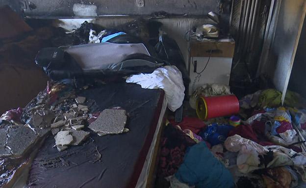 """ביתה של מעודה אחרי ההצתה (צילום: כב""""ה, חדשות)"""