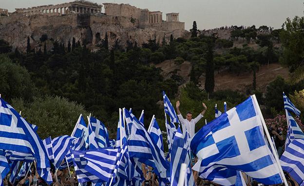עצרת של דמוקרטיה חדשה באתונה, בשבוע שעבר (צילום: רויטרס, חדשות)