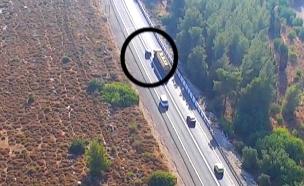 צפו ברחפן מתעד עבירות תנועה (צילום: משטרת ישראל, חדשות)