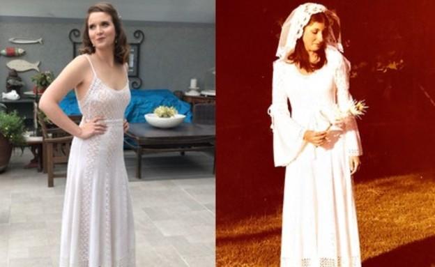 שמלה של אמא אורי שליידר (צילום: מימין: פרטי   משמאל: בהדרה )