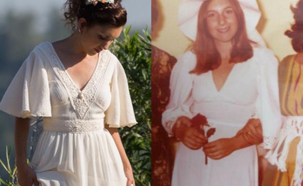 שמלה של אמא יהל פורת (צילום: מימין: פרטי   משמאל: איגור פרברוב)