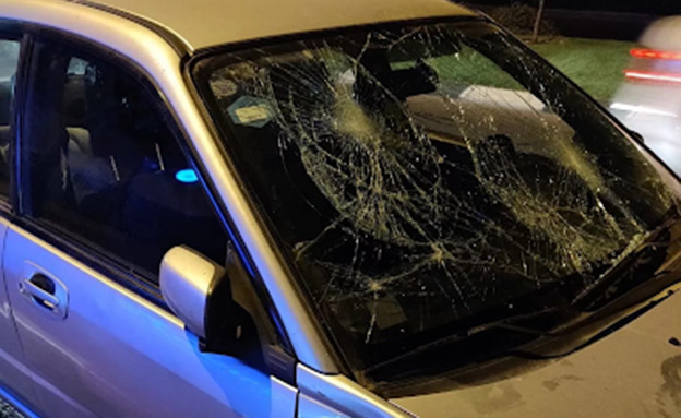 רכבם של בני הזוג שהותקף במהלך ההפגנה ברחובות (צילום: איחוד הצלה, חדשות)