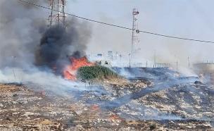 חשד להצתה: מוצב עלה באש (צילום: הצלה ללא גבולות, חדשות)