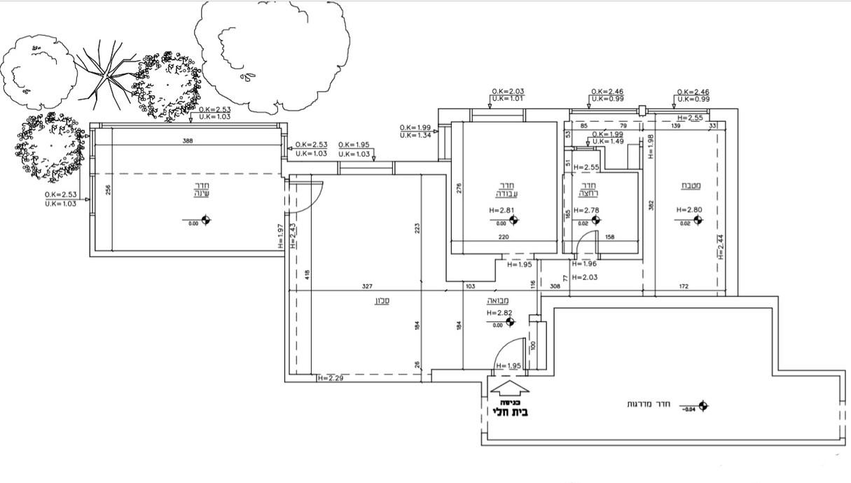 דירה בתל אביב, עיצוב אורית דרום, תוכנית אדריכלית מצב קיים