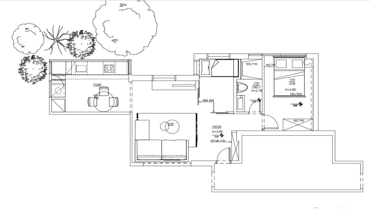 דירה בתל אביב, עיצוב אורית דרום, תוכנית אדריכלית ריהוט