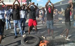 מחאת בני העדה האתיופית בקרית אתא (צילום: החדשות)