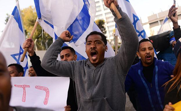 מחאת יוצאי אתיופיה (צילום: Tomer Neuberg/Flash90, חדשות)