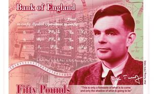 אלן טיורינג על שטר 50 לירות שטרלינג (צילום: Bank of England)