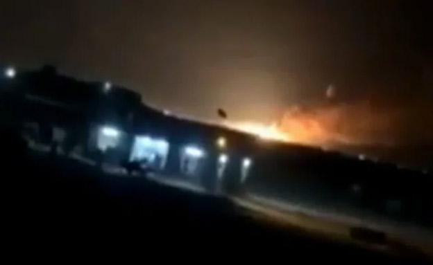 הפצצת בסיס אירני בעיראק (צילום: צילום מסך מרשת אל-ערביה)