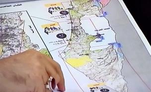 מפת המטרות (צילום: שידורי חיזבאללה, חדשות)