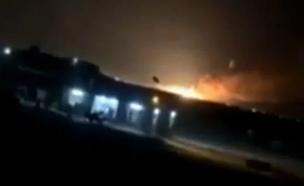 הפצצת הבסיס בעירק (צילום: צילום מסך מרשת אל-ערביה, חדשות)