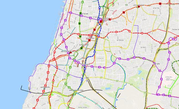 מפת תחבורה, כבישים, תחבורה ציבורית (צילום: משרד התחבורה)