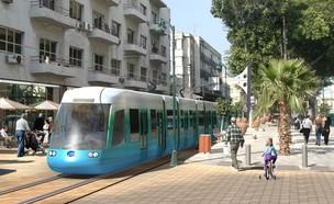 הדמיית הרכבת הקלה בשדרות ירושלים ביפו (הדמיה: TheMarker, עיריית תל אביב-יפו)