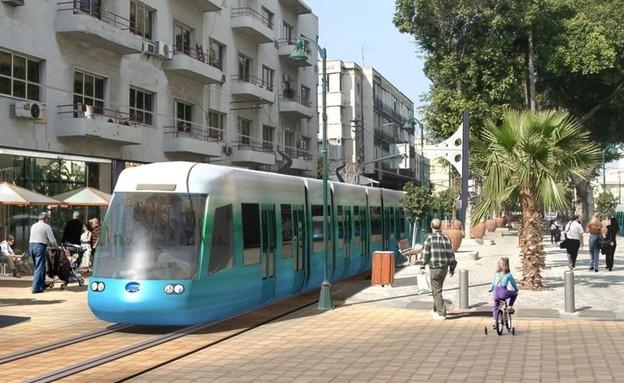 הדמיית הרכבת הקלה בשדרות ירושלים ביפו