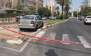 זירת התאונה בקריית גת (צילום: משטרת ישראל)
