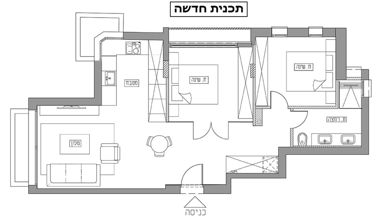 דירה בתל אביב, עיצוב רונה טמקין, תוכנית אדריכלית אחרי שיפוץ