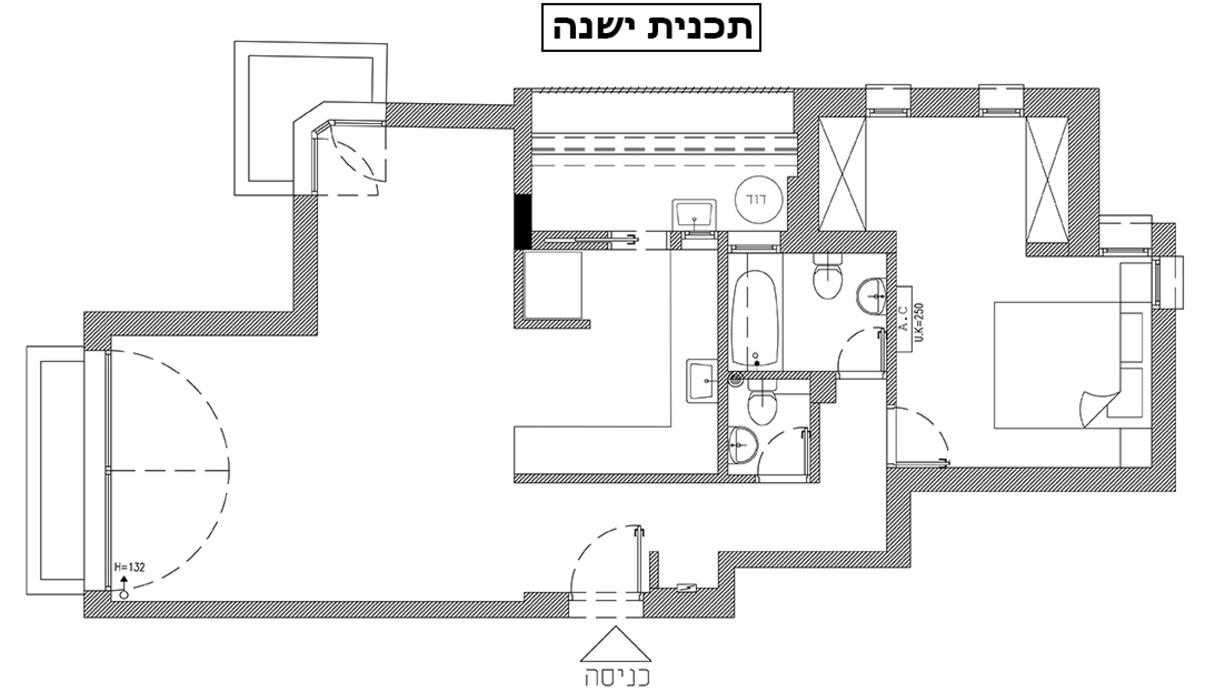 דירה בתל אביב, עיצוב רונה טמקין, תוכנית אדריכלית לפני שיפוץ - 1