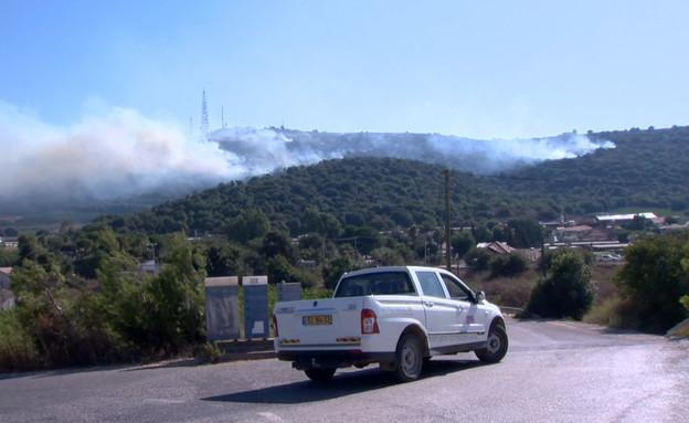 שרפה ברכס נפתלי, גבול לבנון (צילום: שלומי אפריאט)