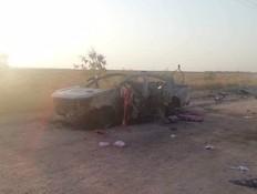 תיעוד מזירת החיסול בגבול סוריה-עירק (צילום: התקשורת העירקית)