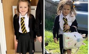 לפני ואחרי היום הראשון ללימודים (צילום: מתוך עמודי האינסטגרם של לוסי אהריש וצחי הלוי, פייסבוק)
