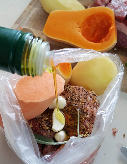 מרכיבי אסאדו עם טריק - שמן זית