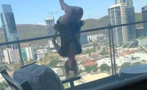 נפלה מהמרפסת (צילום: טוויטר\javierehdz)