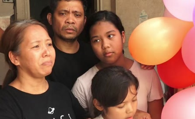 משפחת ולסקו מהפיליפינים ששוחררה בזכות ערבות החברים (צילום: החדשות 12)