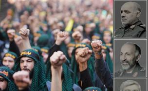 """בכירים במשמרות המהפכה וחיזבאללה האחראים על דיוק הט (צילום: רויטרס, דובר צה""""ל)"""