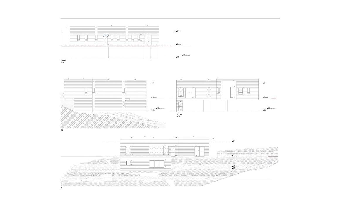 בית במושב, עיצוב מרב שדה, תוכנית אדריכלית חזיתות