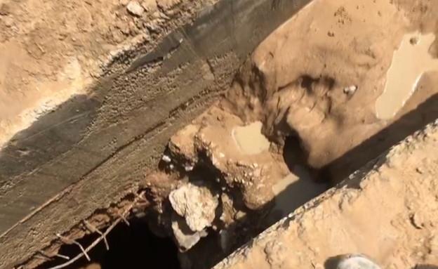 התעלה ביישוב בעוטף עזה שנחשדה כמנהרת טרור