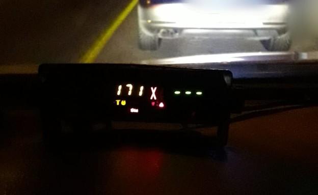 """נתפס במהירות של 171 קמ""""ש בדרך לים המלח (צילום: דוברות המשטרה)"""