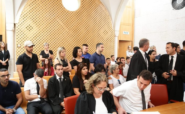 ההורים מהגן של כרמל מעודה באולם בית המשפט (צילום: אסתי דזיובוב/TPS)