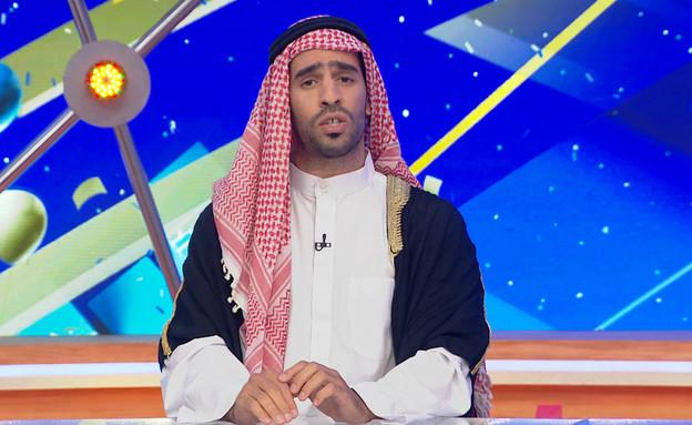 """הבלוגר מוחמד מגן על נתניהו  (צילום: מתוך """"ארץ נהדרת 16"""", קשת 12)"""