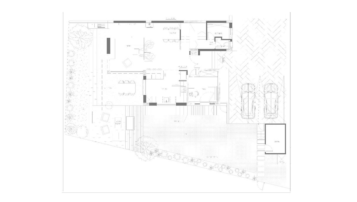 בית בחוף הכרמל, עיצוב מיכל מטלון, תוכנית קומת קרקע