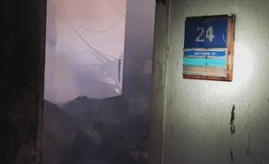 שרפה בבניין רשות השידור (צילום: דוברות כבאות והצלה)