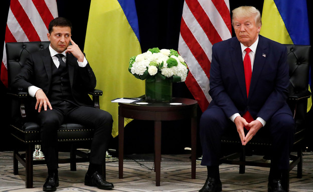 """טראמפ ונשיא אוקראינה זלנסקי בפגישה בשולי עצרת האו""""ם (צילום: שי פרנקו, רויטרס)"""