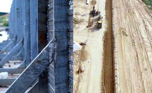 """בניית הגדר בעזה (צילום: דובר צה""""ל)"""