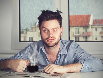 גבר, עייף,, קפה,