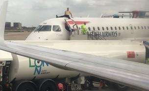 פעיל סביבתי יושב על מטוס