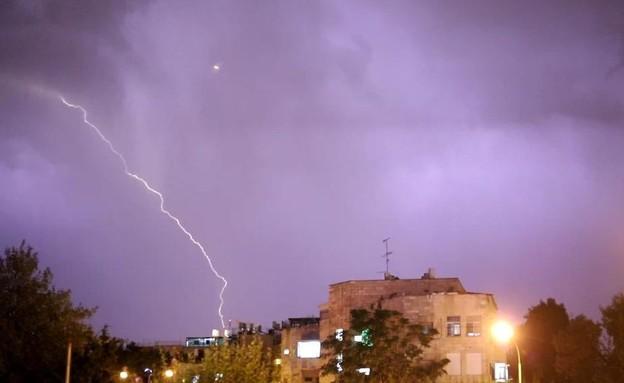 סערת ברקים בירושלים (צילום: הודיה קלמן, TPS)