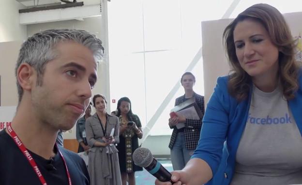 """דרור גלוברמן במסיבת העיתונאים של פייסבוק (צילום: מתוך """"הקרב על המוח"""", קשת 12)"""