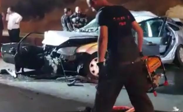 """זירת התאונה כביש 60 (צילום: דוברות מד""""א )"""
